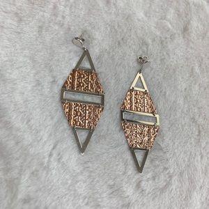 Rose Gold & Silver Dangle Earrings